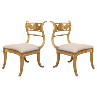 Rose Tarlow Regency Shell Gold Leaf Back Chairs in 22 Kt Gold Finish - a Pair For Sale