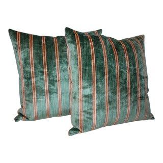 Striped Green Silk Velvet Pillows For Sale