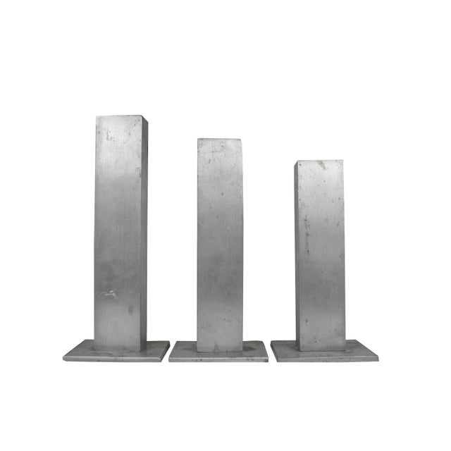 Mid 20th Century Mid 20th Century Handmade Modern Aluminum Candle Stick Holders - Set of 3 For Sale - Image 5 of 6