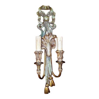 Early 20th Century Carved Wall Light Sconce by Thorvald Strom For Sale