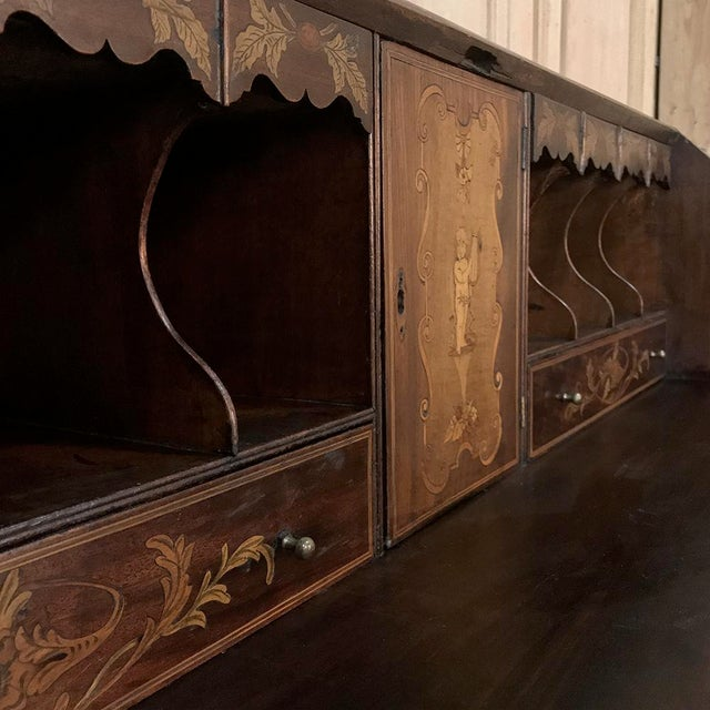Wood 19th Century English Mahogany Marquetry Secretary For Sale - Image 7 of 13