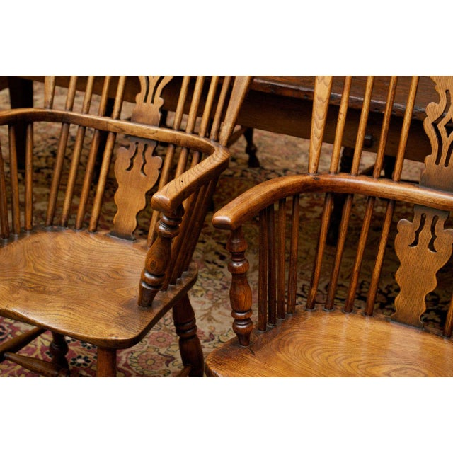 Set of Eight High-back Windsor Armchairs, English circa 1850 For Sale - Image 5 of 10