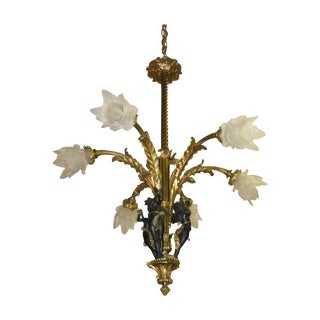 Antique French Bronze Chandelier With Black Cherub For Sale