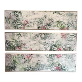 """Pauline Curtiss Triptych """"Garden Party"""" Paintings - Set of 3"""