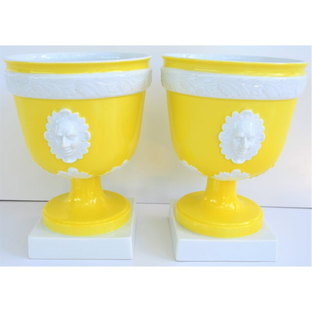 This is a beautiful pair of vintage bright lemon yellow and white porcelain pedestal Cachepots! This was produced by Vista...