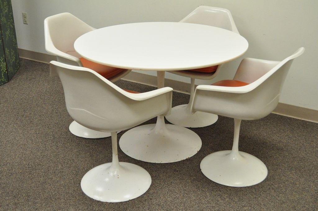 4 chair dining set rectangular dining table item vintage mid century modern tulip base dining set attr to burke details 42