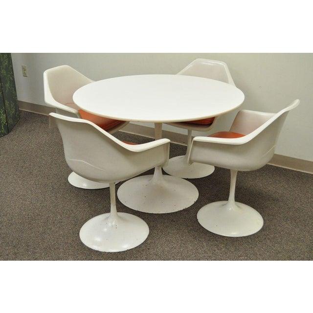 "Vintage Mid Century Modern Tulip Dining Set 42"" Table 4 Chairs Burke Saarinen - Image 2 of 11"