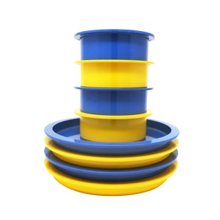 Yellow & Blue Stacking Dishes by Gunnar Cyren for Dansk For Sale