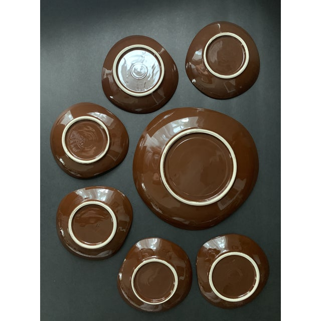 Vintage Mid Century Brow Gilded Cake Dessert Serving Set - 7 Pieces For Sale - Image 9 of 11