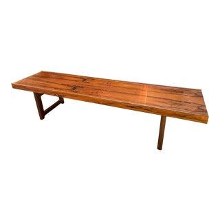 Mid-Century Modern Torbjørn Afdal for Bruksbo Solid Rosewood Low Profile Bench For Sale