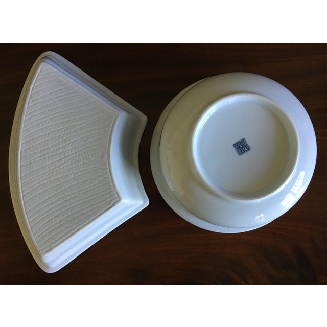 Japanese Ceramic Appetizer Serving Set of 5 For Sale - Image 11 of 13