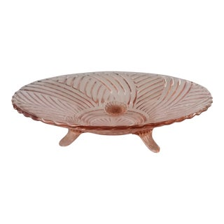 Pink Depression Glass Footed Bowl For Sale