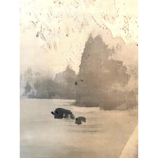 Japonisme Japanese Ink and Wash Scroll Painting by Watanabe Seitei For Sale - Image 3 of 13