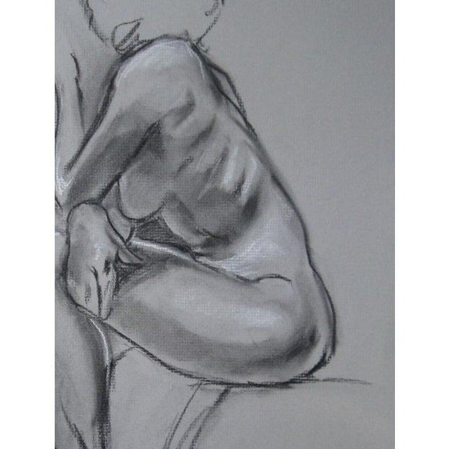 """""""Quick Sketch V"""" contemporary charcoal figure drawing from life on 12"""" x 18"""" grey charcoal paper. This drawing has been..."""