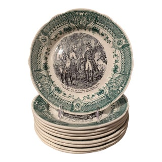 19th Century French Painted Napoleonic Sarreguemines Ceramic Plates, Set of 9 For Sale