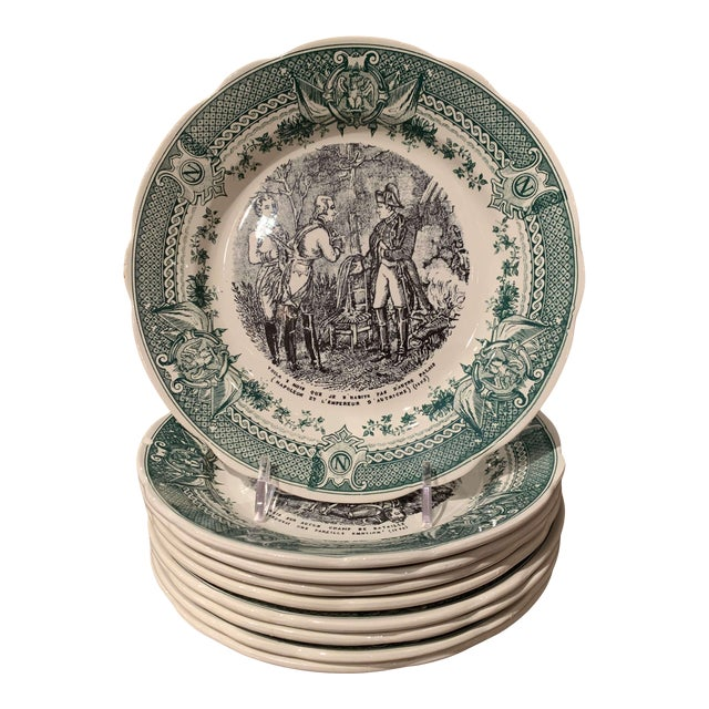 19th Century French Painted Napoleonic Sarreguemines Ceramic Plates-Set of 9 For Sale