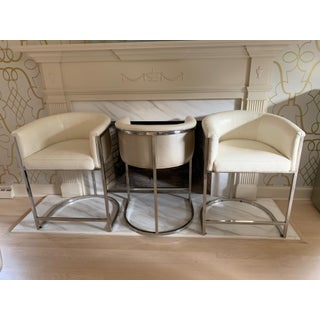 """Custom """"Snakeskin"""" Leather and Chrome Barstools Preview"""