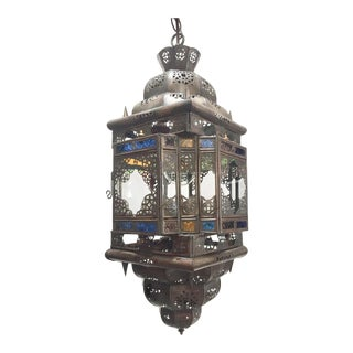 Moroccan Handcrafted Moorish Light Fixture With Multi-Color Glass For Sale