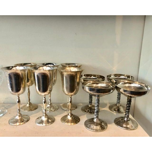 Mismatched Silver Glasses, Set of 10 For Sale - Image 4 of 7
