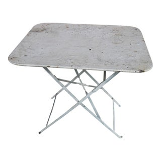 Vintage Iron French Country Rustic Painted Bistro Table For Sale