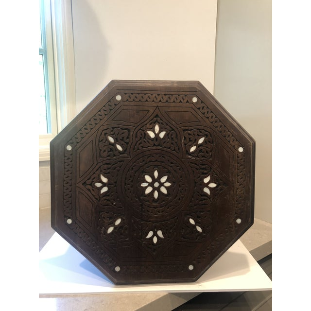 Moroccan Middle Eastern Style Inlaid Side Table For Sale - Image 4 of 8