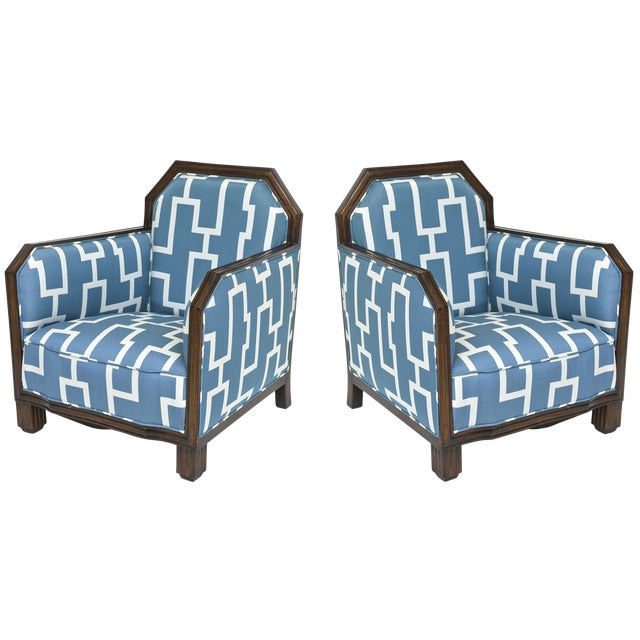 Fine Pair of Rosewood Art Deco Club Chairs, France, Paul Follot For Sale