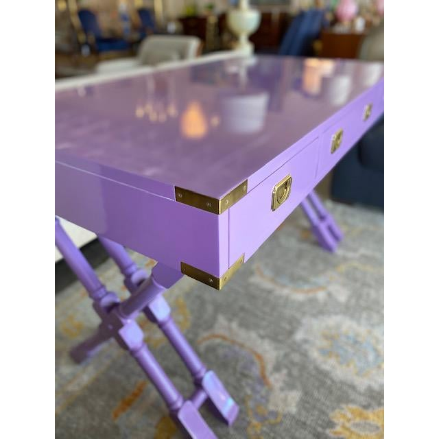 Mid-Century Modern Vintage Campaign Purple Lacquer Writing Desk For Sale - Image 3 of 9