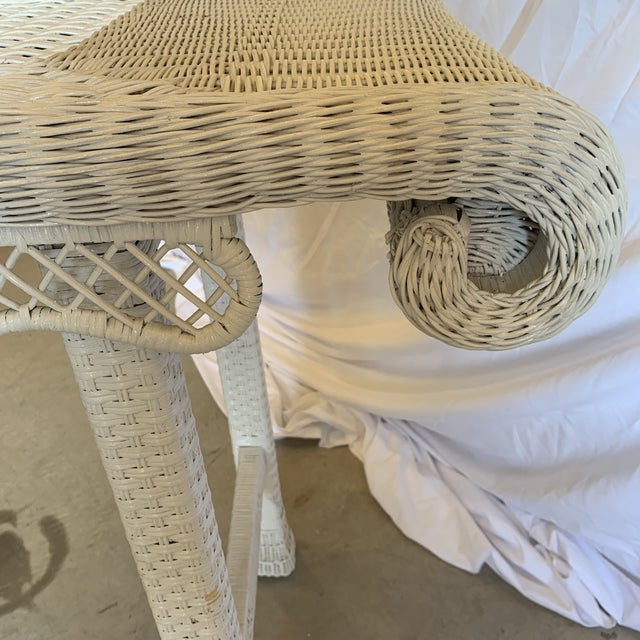 Wicker Asian Style White Wicker Console Table For Sale - Image 7 of 11