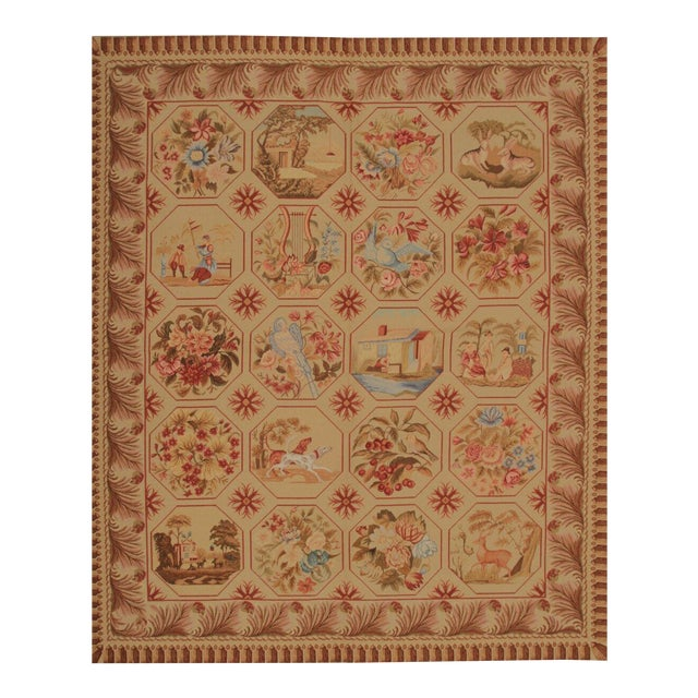 Vintage Mid-Century Hand-Knotted Needlepoint Rug - 5′10″ × 6′11″ For Sale
