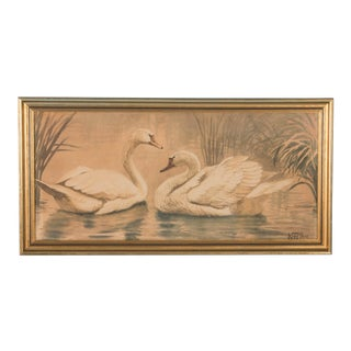 Early 20th Century Antique Original Danish Swans Watercolor Painting For Sale