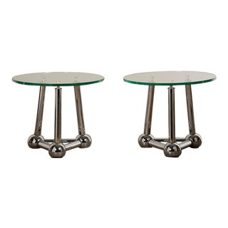 1970s Vintage French Chrome Atomic End Tables with Glass Tops - a Pair For Sale