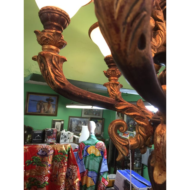 Italian Baroque Chandelier With Alabaster Shades For Sale In San Francisco - Image 6 of 11
