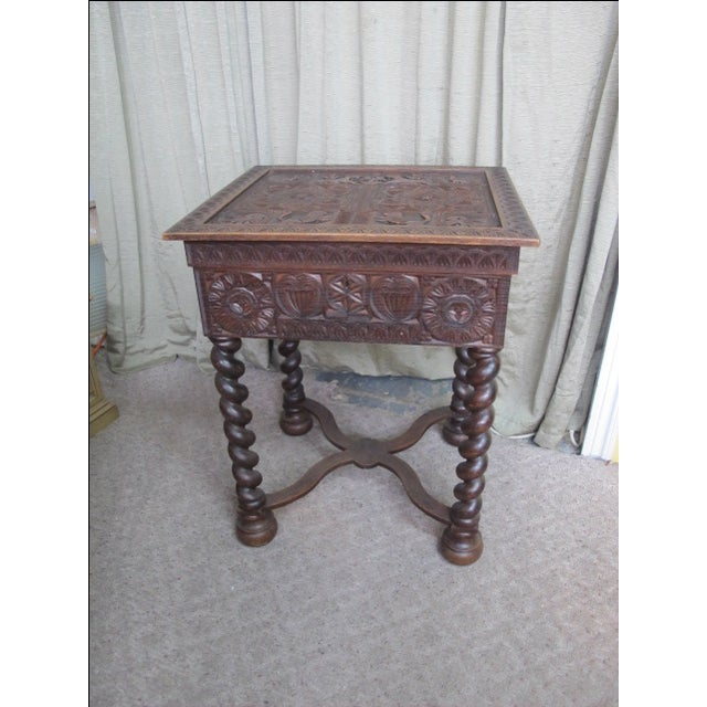 19th Century Heavily Carved Swedish Sewing Table - Image 3 of 8
