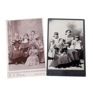 Late 19th Century Antique Victorian Children Cabinet Card Photographs - A Pair For Sale
