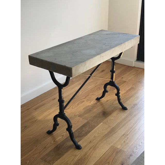French 20th Century French Marble & Iron Bistro Table For Sale - Image 3 of 10