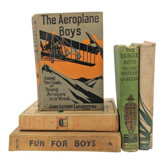 Early 20th Century Neutral Boy Themed Book Collection - Set of 5