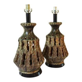 1950s Brutalist Mid-Century Ceramic Lamps - a Pair For Sale