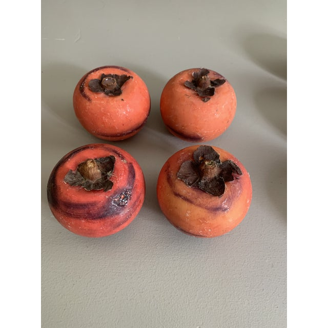 Vintage Italian Marble Stone Fruit - Persimmon - Set of 4 For Sale - Image 9 of 9
