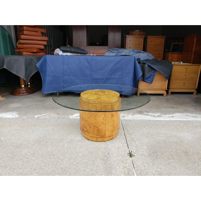 1960's Vintage Dunbar Edward Wormley Burled Olive Pedestal Coffee Table For Sale - Image 10 of 10