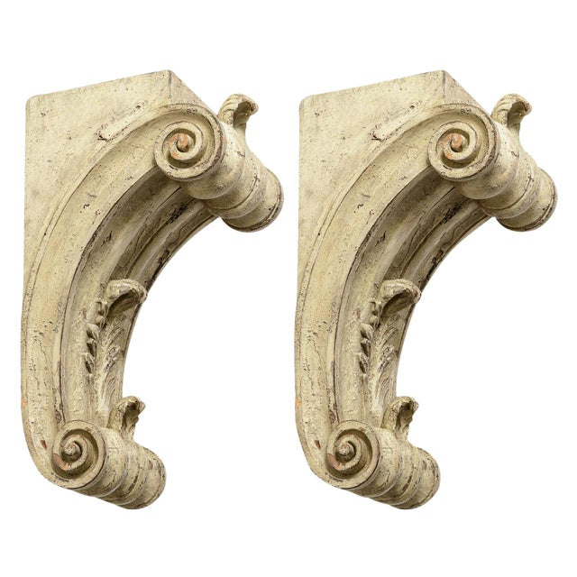 Antique Large Classical Wood Carved Painted Corbels - a Pair For Sale