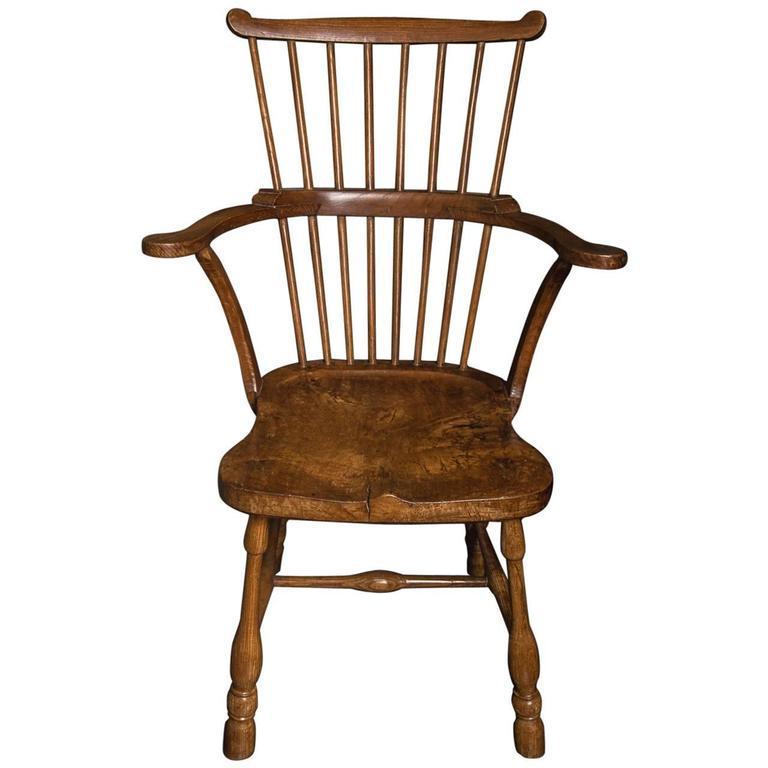 Rare Pennsylvanian Hickory And Maple U0027Windsoru0027 Comb Back Chair, Mid 18th