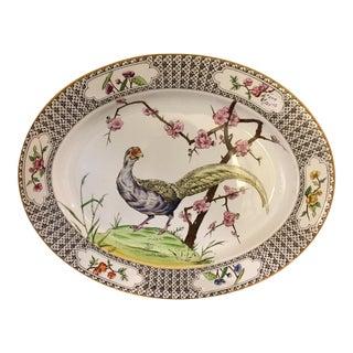 Floral Border Peacock Platter For Sale