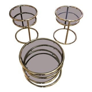 1970s Contemporary Concentric Brass Circle Coffee and Side Tables - 3 Piece Set For Sale