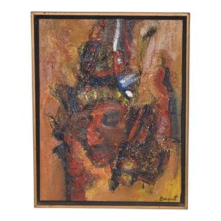 "Eric Bancroft ""The Warrior"" Original Mixed Media Portrait Painting C.1967 For Sale"