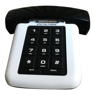 Mid Century Modern Black & White Push Button Phone For Sale