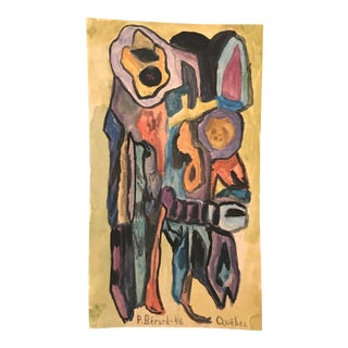 1946 Canadian Abstract Expressionist Modern Painting by P. Berard, Quebec For Sale