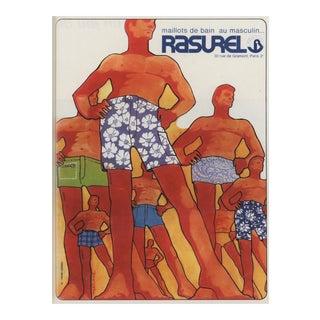 Matted 1967 Vintage Mid-Century Men's Swimwear Print For Sale
