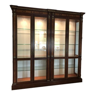 Walnut, Burled Inlay, and Gilded Gold China Cabinet by John Widdicomb For Sale