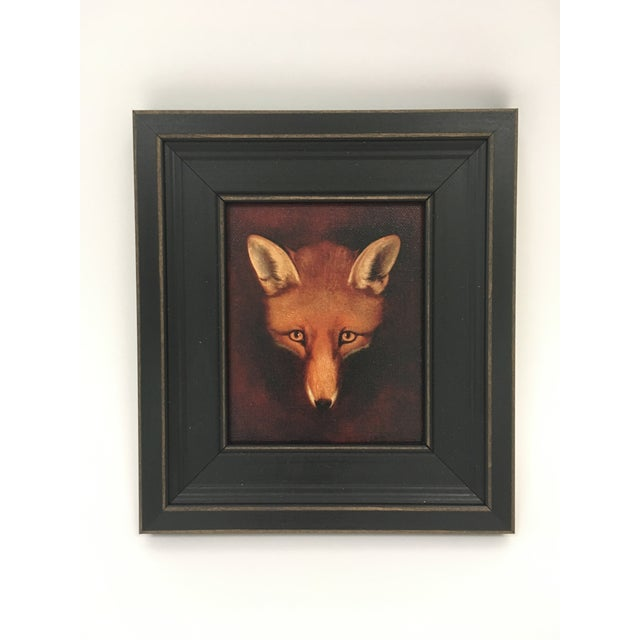 Petite Framed Fox Head Painting For Sale - Image 4 of 4
