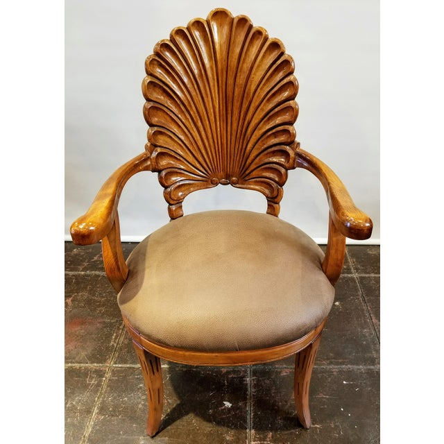 1960s Vintage Italian Venetian Carved Wood Shell Back Grotto Armchair For Sale - Image 10 of 10